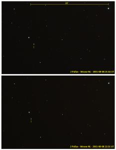 2 Pallas Skywatcher 200 mm Newton-reflector, Canon EOS 1200D in primair brandpunt, Coma-corrector, ISO-800, f/5, 1×30 seconden belichtingstijd (08-08-2015)